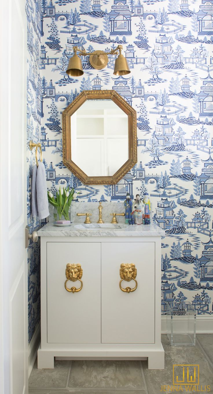 Blue And White Print Wallpaper With White Vanity And Gold Lion Decorate  Handlesu2026 Design Ideas