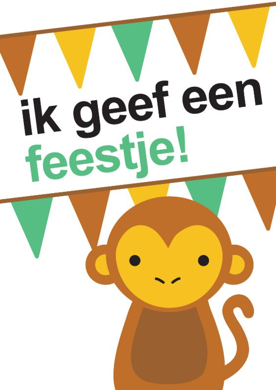 Uitnodiging voor een verjaardag kinderfeestje. Bruine, groene en gele strepen en vlaggetjes EN een stoer aapje.