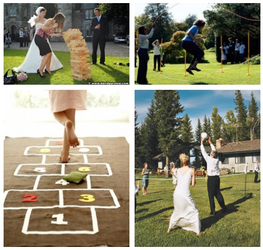 Casual Outdoor Wedding - Games: Lawn Jenga, Jumping rope, Hopscotch and Volleyball!