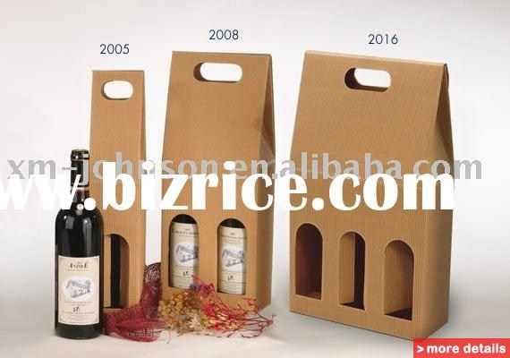 Wine Carrier Box, paper wine box,Gift Wine paper box,die cut kraft wine box. / China Packaging Bags for sale