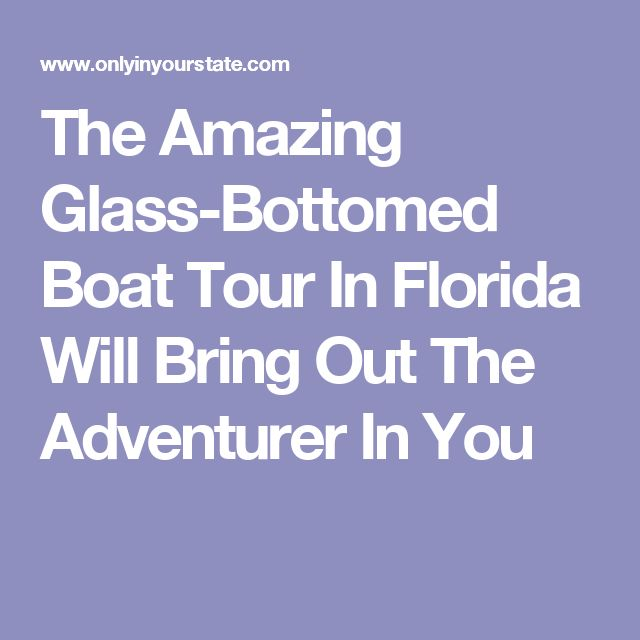The Amazing Glass-Bottomed Boat Tour In Florida Will Bring Out The Adventurer In You