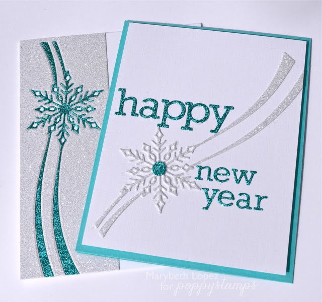 handmade New Year card from Marybeth's time for paper ... die cut glitter paper in silver and turquoise ... snowflake and works ... luv the matching die cut on the envelope flap ...