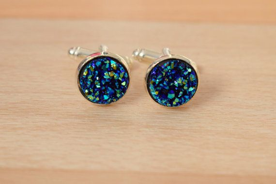 Royal Blue Druzy Cuff Links  Cuff Links For Groom  by SkadiJewelry