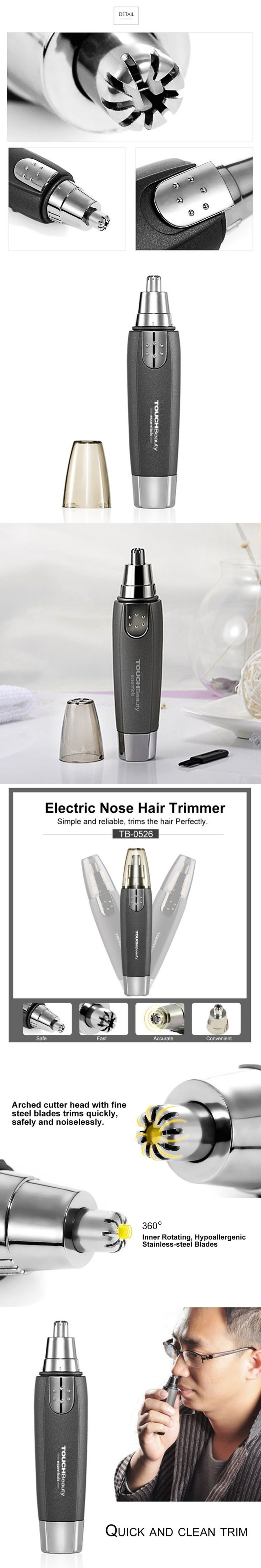 Inner Rotating Elecrtric Nose Hair Trimmer Neat Clean Battery-Operated Nose Ear Hair Removal Clipper For Men Beauty