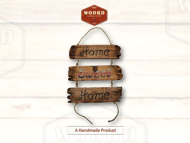 OME SWEET HOME: Rustic home decor Handwritten wooden decorative application, with rope and metallic elements. by WOORDshop on Etsy