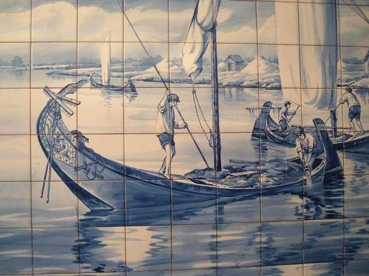 mur Azuleros bateau bleu cobalt