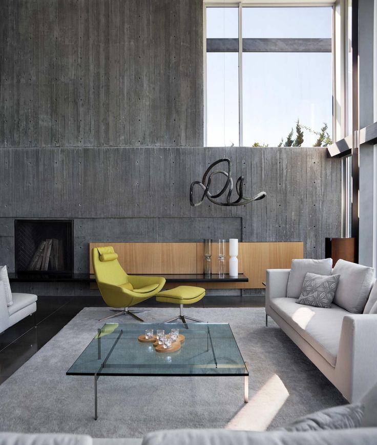 40 elegantes salas de estar que usan concreto para destacar dise os de salones modernos - Disenos de salones modernos ...