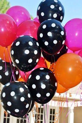 Polka Dot Birthday Supplies, Decor, Clothing: Orange, Pink, and Black Polka Dot Birthday