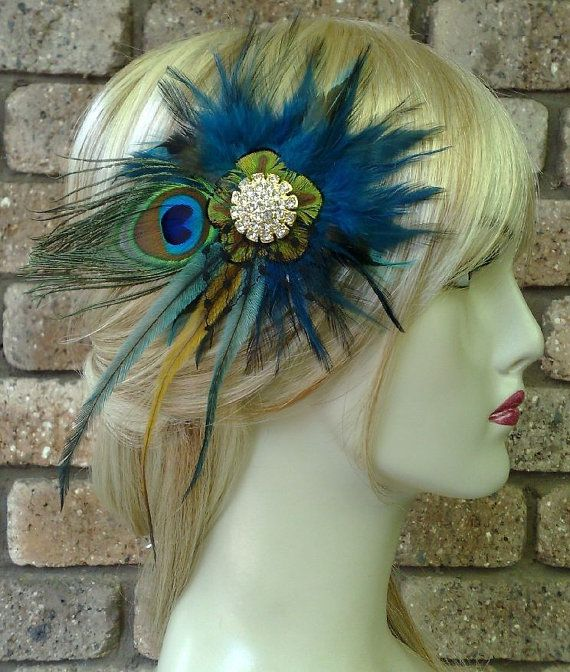 Peacock Teal Bridal Fascinator Bohemian Wedding by YJCouture