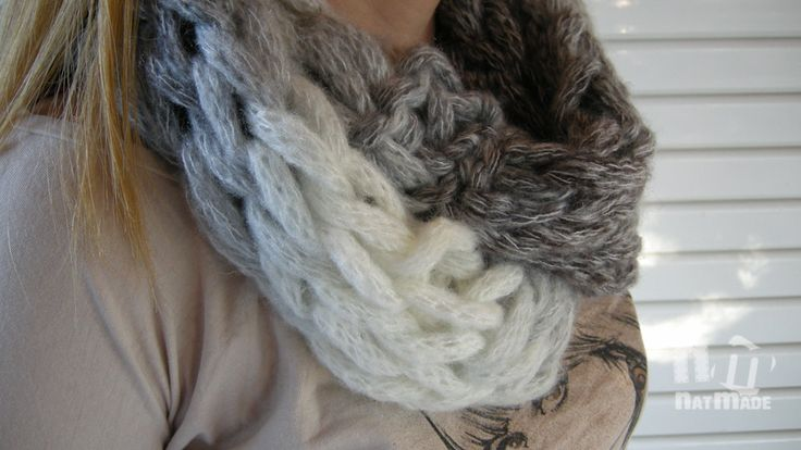 Crochet infinity scarf,Finger Crochet infinity Scarf by NatmadeCrafts on Etsy