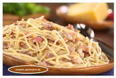 Spaghetti mit köstlicher Schinken-Sahne-Ei-Parmesan-Sauce! glutenfrei, weizenfrei, laktosefrei, fruktosearm, milchfrei siehe Tipp Für 2 Personen 250g glutenfreie Spaghetti (z.B. Molio di Ferro) 100g Schinken gekocht oder geräuchert 1 EL Öl 3 Eigelb 100 ml Sahne (laktosefrei) 50g Parmesan, frisch gerieben Salz Pfeffer 1. Spaghetti nach Anleitung kochen. 2. Schinken klein würfeln und in Öl anbraten. 3. …