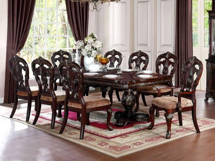 Empire Wooden Dining Table With 8 Chairs Dining Room