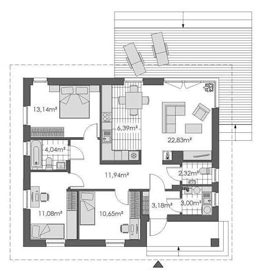 4 izby a viac SPRING TL 210 | Bungalov nad 60 000 € Bottom / SPRING TL 210 | GoldHouse.sk | Rodinné domy na kľúč