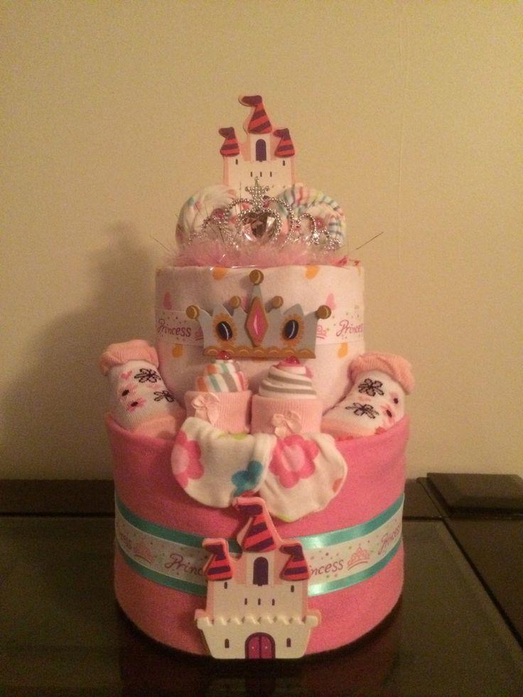 Royal Pink Princess Baby Girl Diaper Cake