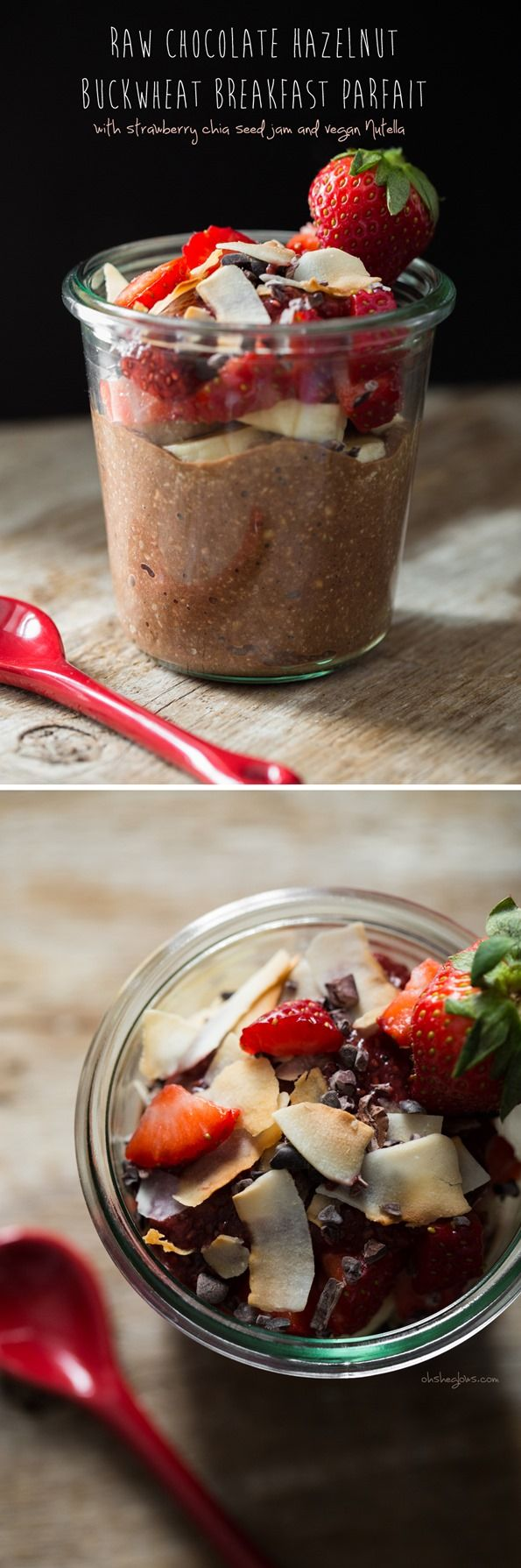 I love this Raw Chocolate Hazelnut Breakfast Parfait! Vegan and Gluten-free. An easy, portable breakfast you can whip up the night before. From Oh She Glows.
