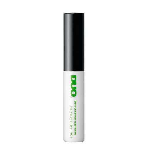 DUO GLUE (Brush-On Adhesive)<<< I have this in my makeup bag and it's easy to apply and will stay on for a long time. I'm a performer and I wear a lot of stage makeup and perform for long period of time in the hot sun and my false eyelashes stay on. I highly recommend it