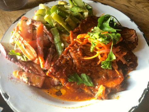 Amazing beef brisket with salads