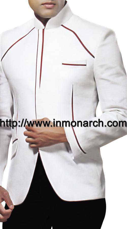 INMONARCH Mens Royal Look wedding White Nehru Jacket NJ138