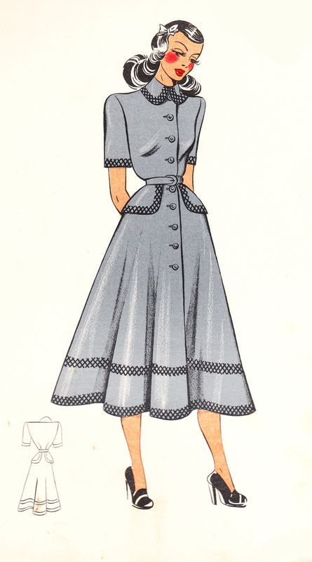 Love the fullness of the skirt on this elegant daywear dress from 1948. #vintage #fashion #1940s #dress