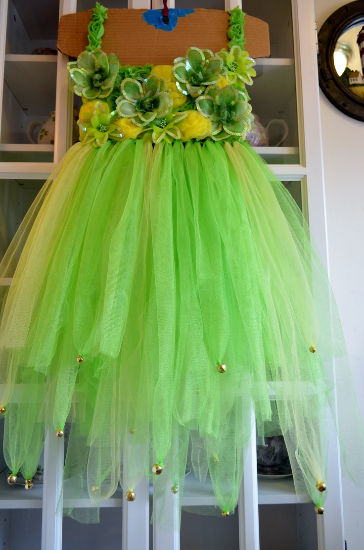 Tinkerbell Tutu Dress. Custom made for The Hair Bow Company's blog site, using their products.