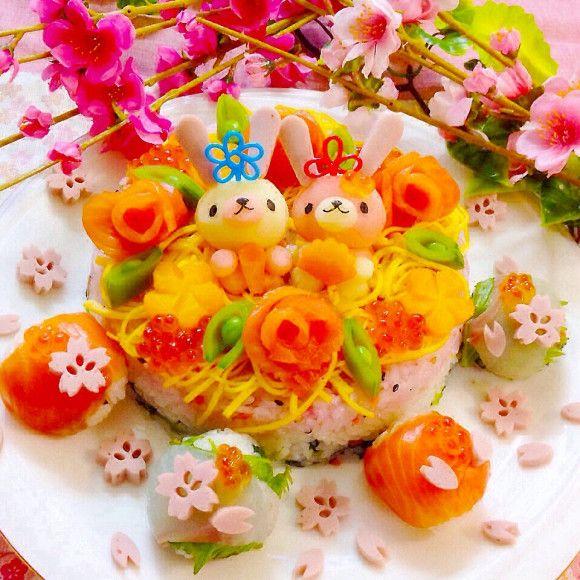 ひな祭りディナー♡ちらし寿司ケーキ〜マッシュお雛様添え♡