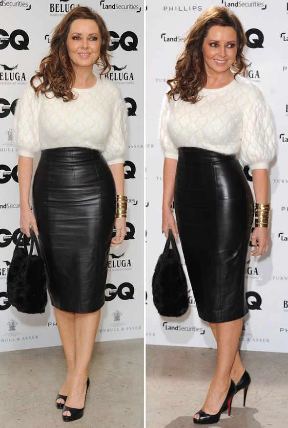 carol vorderman tight black leather skirt 97038 jpg 590
