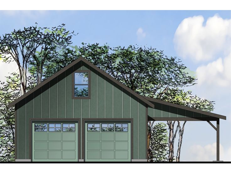051G-0094: Two-Car Garage Workshop Plan with Covered Patio