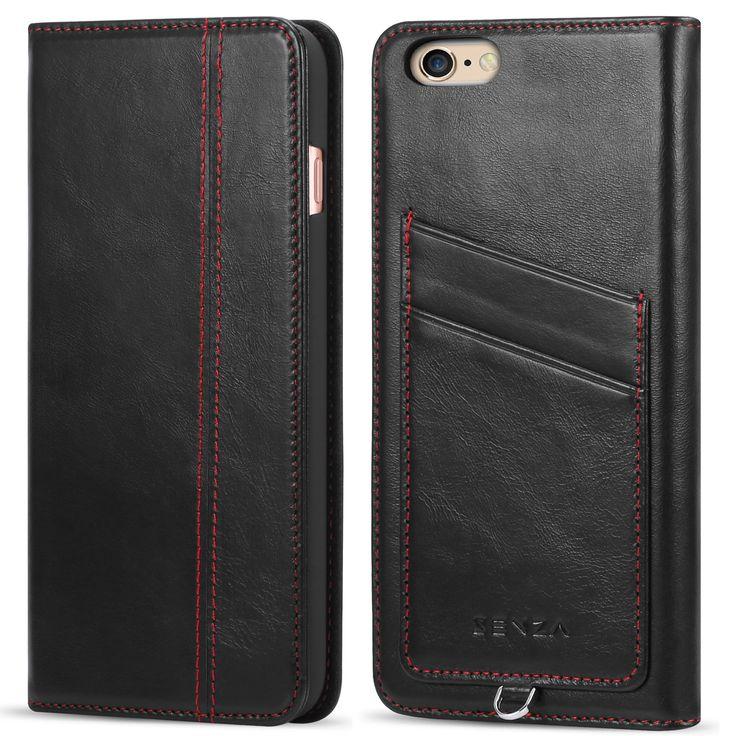 CaseFamily iPhone 6s Plus/6 Plus レザーケース アップル携帯ケース (硬度 9H 液晶保護 強化 ガラスフィルム) 高級牛革 手帳型ケース マグネット式 収納ホルダー 6s Plus/6 Plus 5.5インチ 【ブラック】