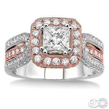 Looking to incorporate rose gold into your engagement ring? This ring incorporates both rose and white gold into the diamond accented mounting.