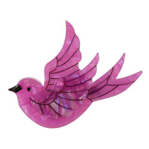 """Erstwilder; """"Fancie Jo Sparrow"""" brooch in pink"""
