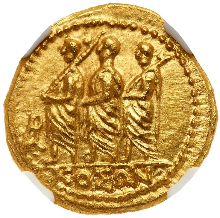 Skythia, Geto-Dacians. Koson. Gold Stater (8.32 g), mid 1st century B KOΣΩN, Roman consul advancing left, accompanied by two lictors; in left field, monogram. Eagle with wings displayed standing left on scepter, holding wreath in talon. Iliescu 1; RPC 1701. Fully lustrous. . #Coins #Gold #Ancient #MADonC