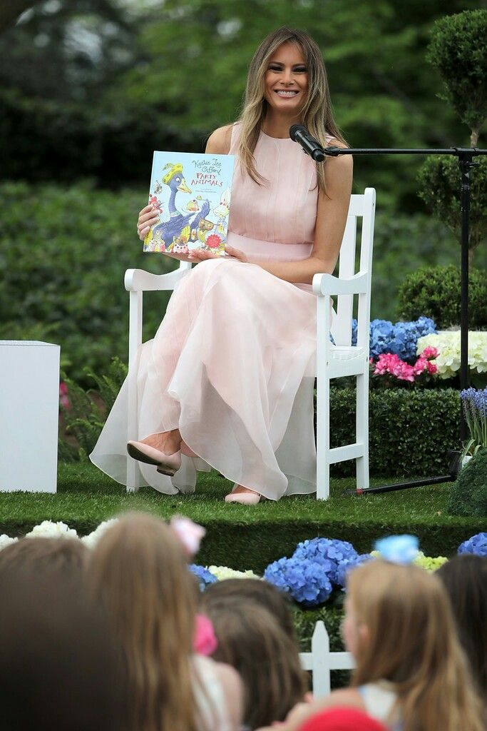 First Lady~{Melania Trump} Easter Egg Roll Reading to the kids..