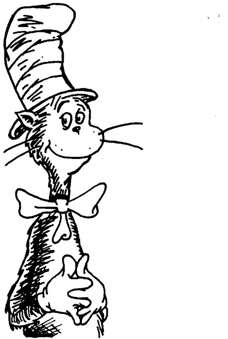 It is an image of Playful The Cat in the Hat Coloring Pages Printable