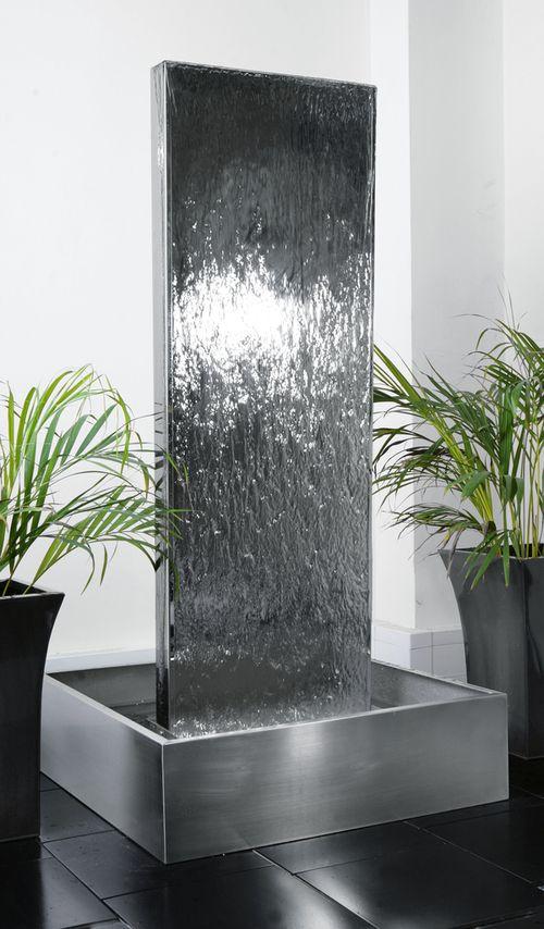 fuente pared vertical de doble vista con estanque de acero inoxidable cm