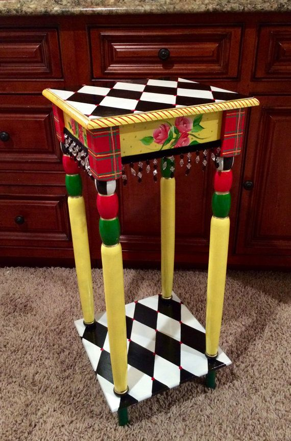 custom hand painted side table whimsical harlequin black white alice in wonderland mad hatter