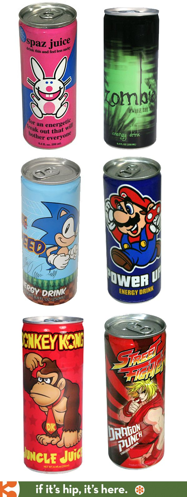Fun canned Energy Drinks featuring video game characters and pop culture icons from Asia.