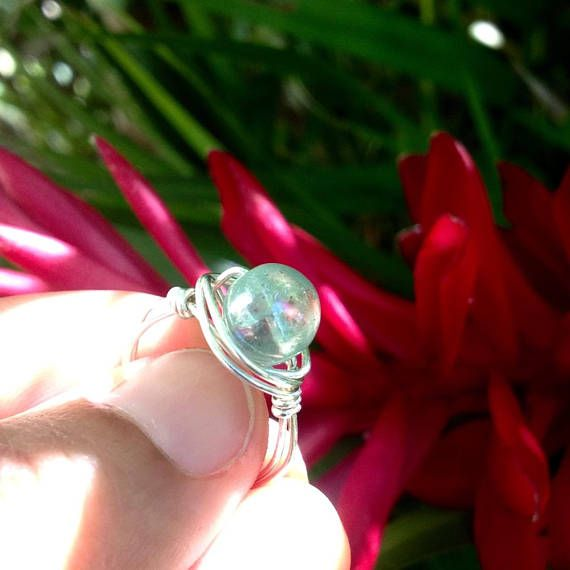 glow in the dark ring  hand wrapped sterling silver gift for