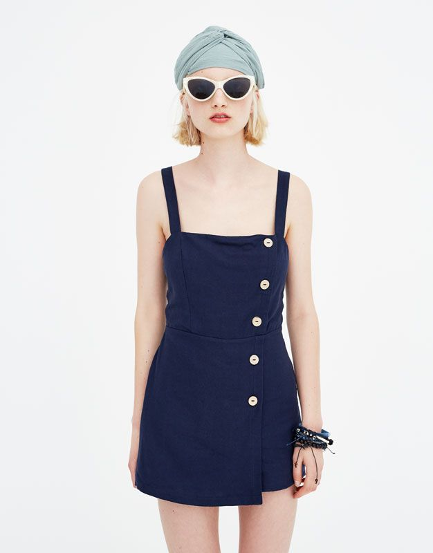 Side Pull amp;bearDresses Pinafore Vestidos With Buttons Dress e9E2YWDHIb
