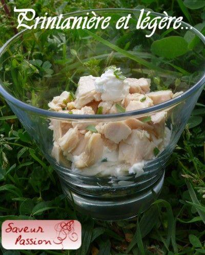 verrine de poulet fromage frais et herbes de printemps
