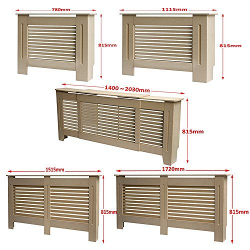 Greenbay Modern Radiator Cover Unfinished MDF Cabinet With Modern Horizontal Style Slats Unpainted Natural---22.99---