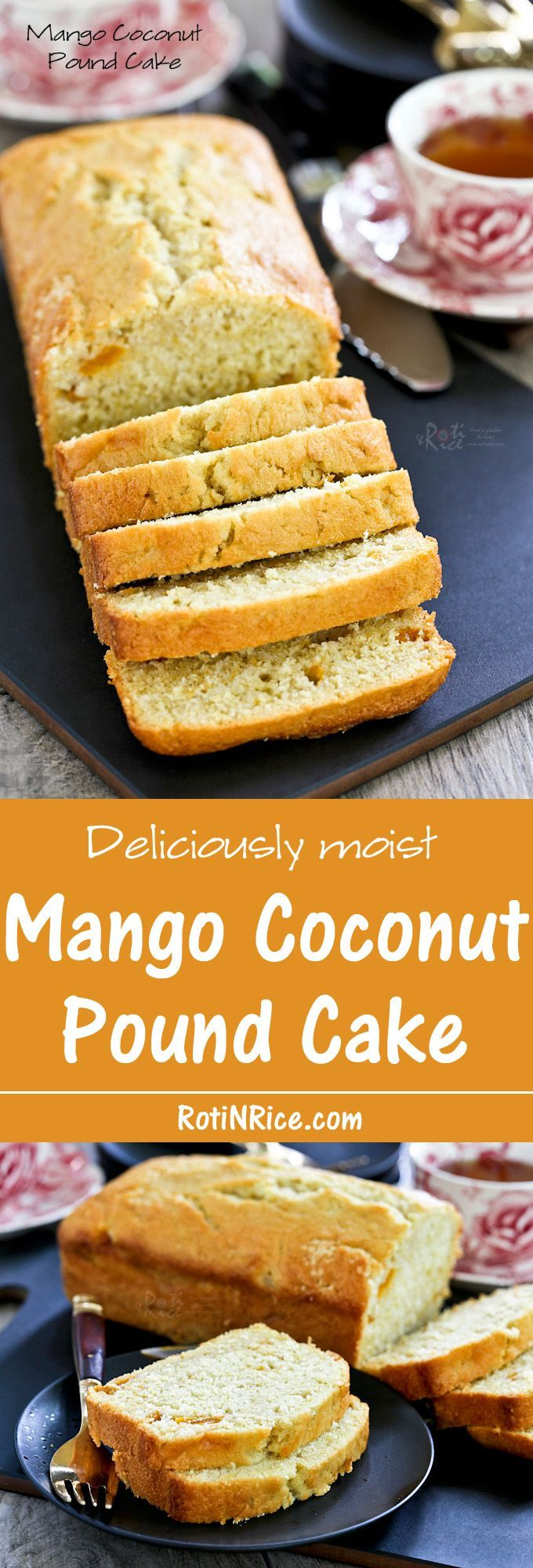 Do not dump your over ripe mangoes. Put it to good use in this moist and flavorful Mango Coconut Pound Cake. | http://RotiNRice.com