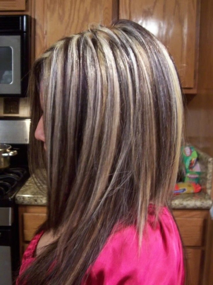 Brown Hair With Chunky Blonde Highlights Underneath Images Free