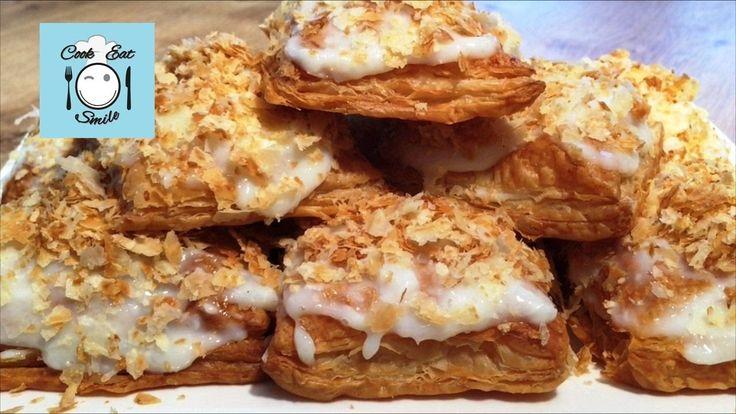 Пирожные из слоёного теста с ванильно-кокосовым кремом