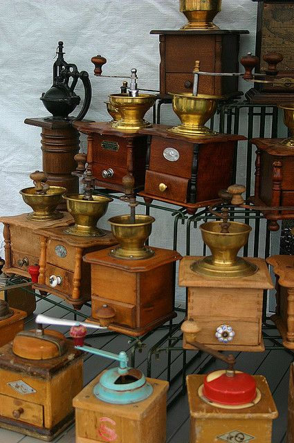 collection of coffee grinders