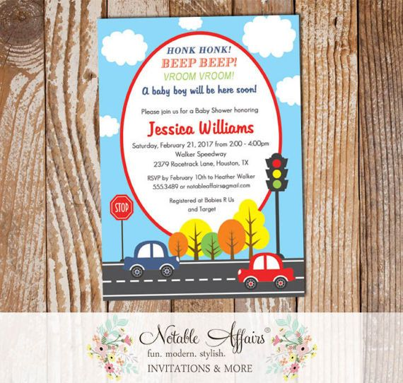 Street Car Scene Light Navy Blue and Red Boy Baby Shower Invitation - mode of transportation shower party - Toy Car Baby Shower by NotableAffairs