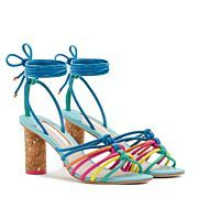 Add a splash of colour with our multi-coloured leather multi-strap mid sandal finished with ankle tie detail and gold flecked cork heel.