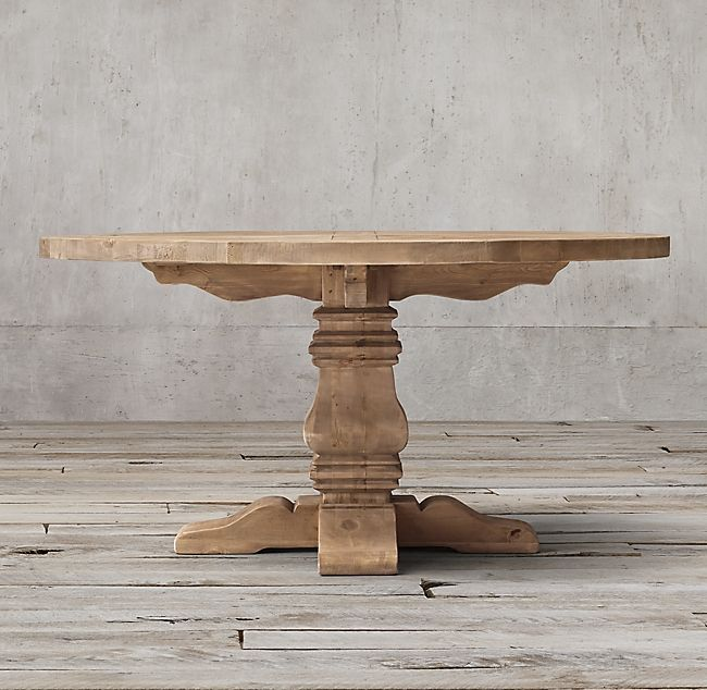 Salvaged Wood Trestle Round Dining Table Round Dining Table