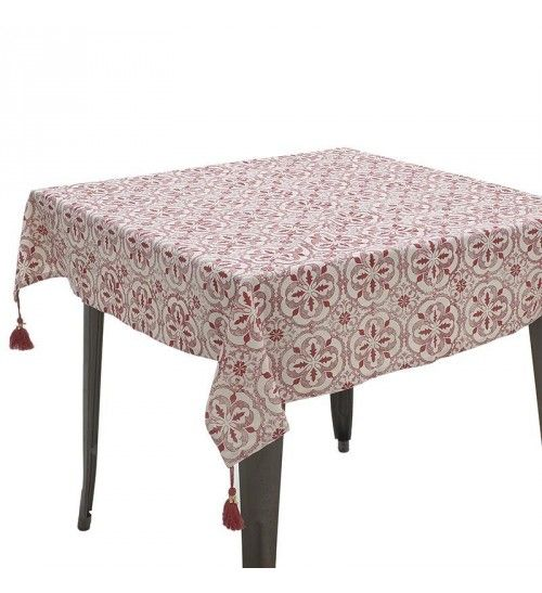 FABRIC TABLE COVER W_TASSELS IN RED_WHITE COLOR 120X120