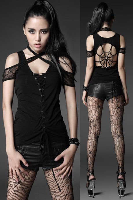 Spiderella Gothic Top by Punk Rave is made from stretch cotton jersey with a black lace panel at the centre front and lace straps across the chest. These straps are intertwined with the sleeves.