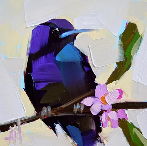 """Purple Martin no. 14 Painting"" - Original Fine Art for Sale - ©Angela Moulton"